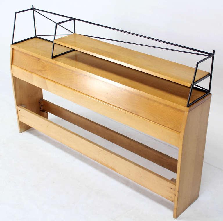 Nice mid century modern solid birch with headboard with wire rack/storage/shelf.