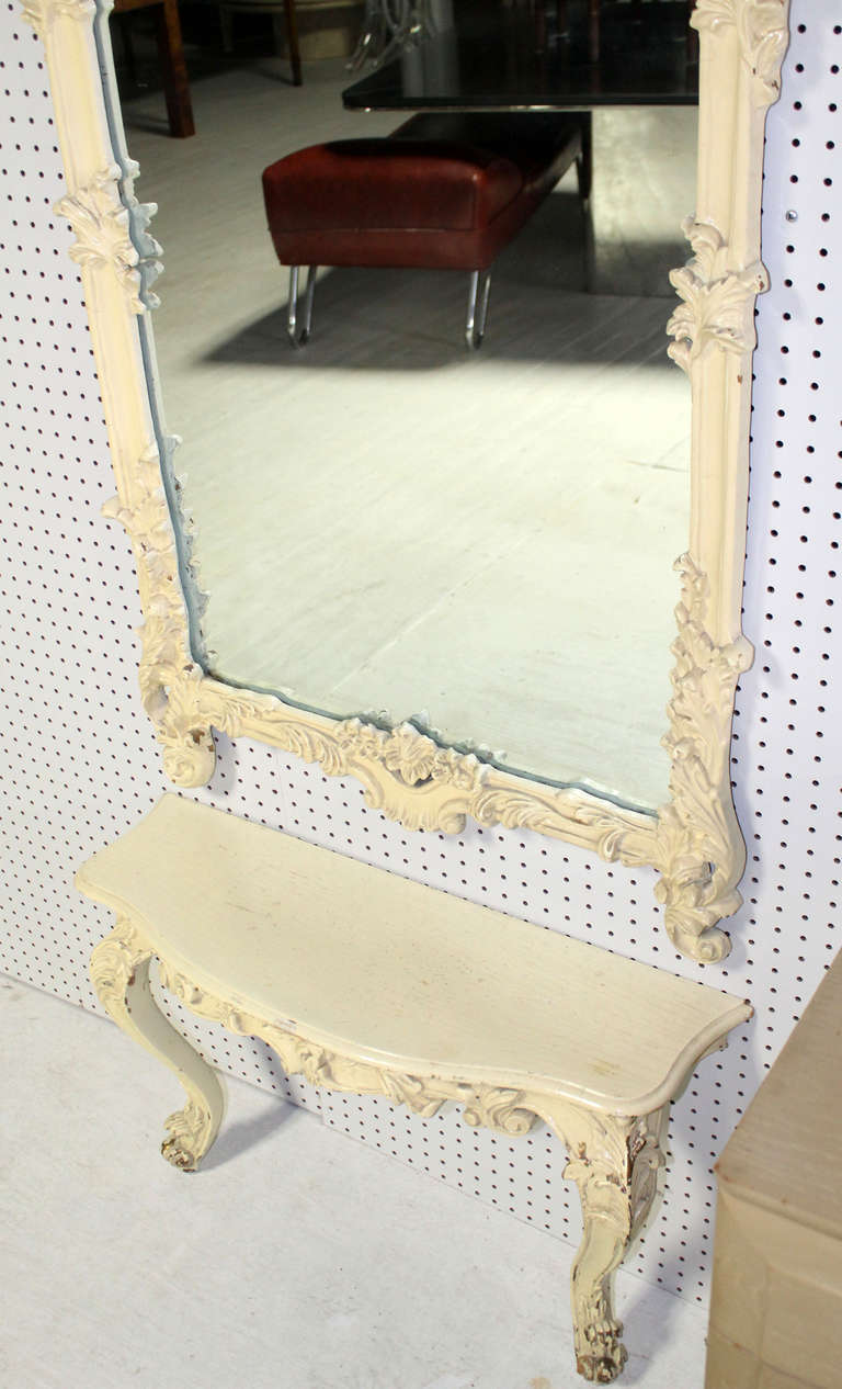 Neoclassical Carved Medium Size, Antique Pier Mirror with Small Console Table