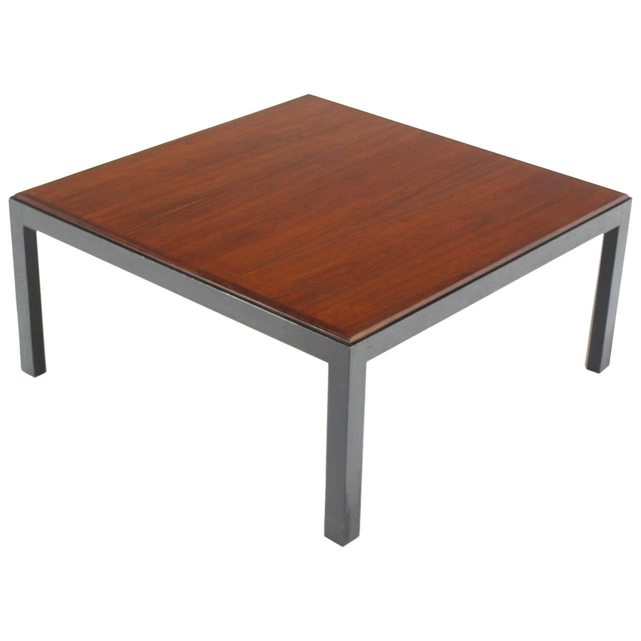 Ebonised Frame Walnut Top Square Coffee Occasional Table
