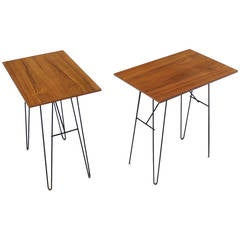 Pair of Tall End or Console Tables on Wire Legs