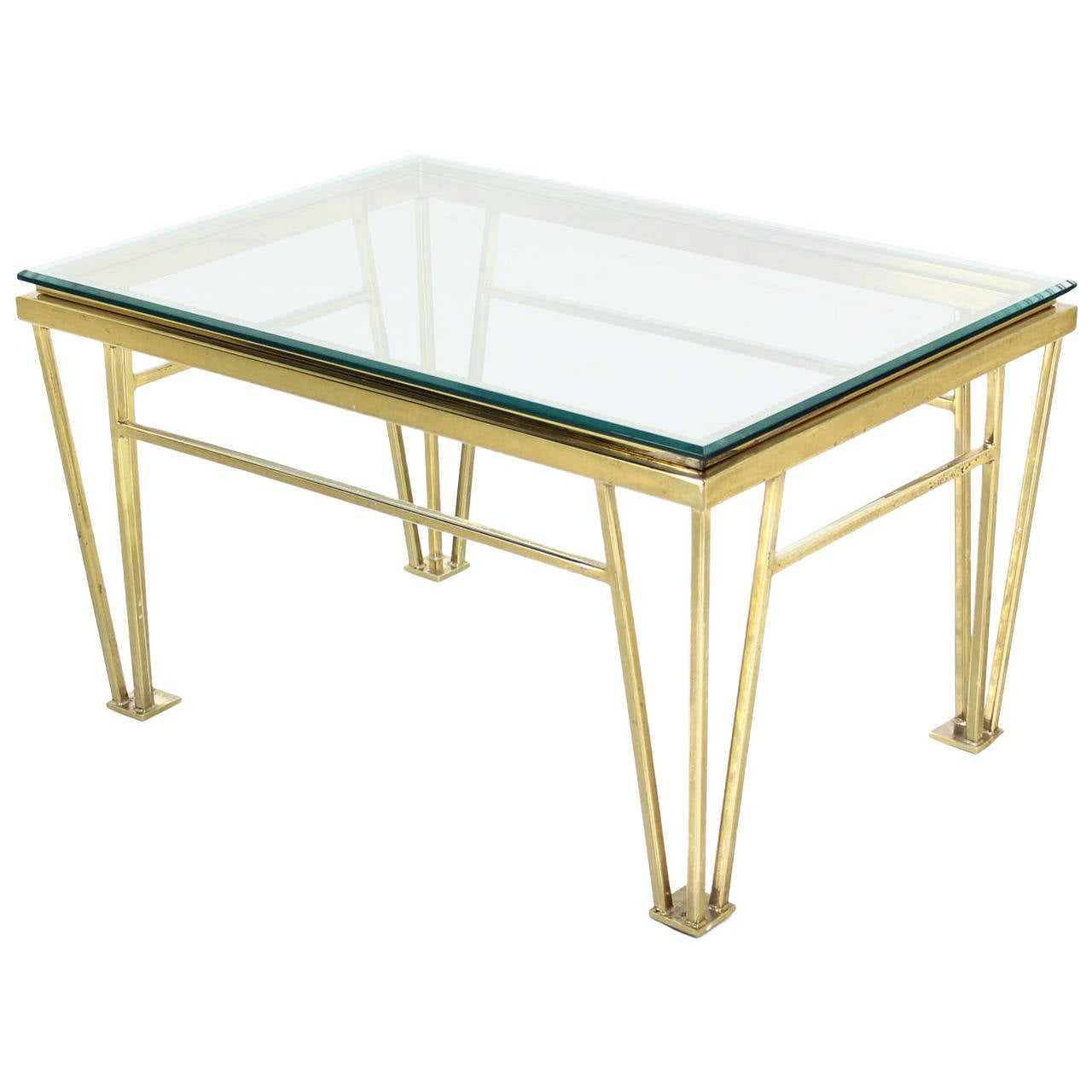 Geometric Frame Rectangular Brass Side Table w/ Glass Top
