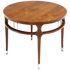 Figural Round Walnut Center Table on Silver Feet