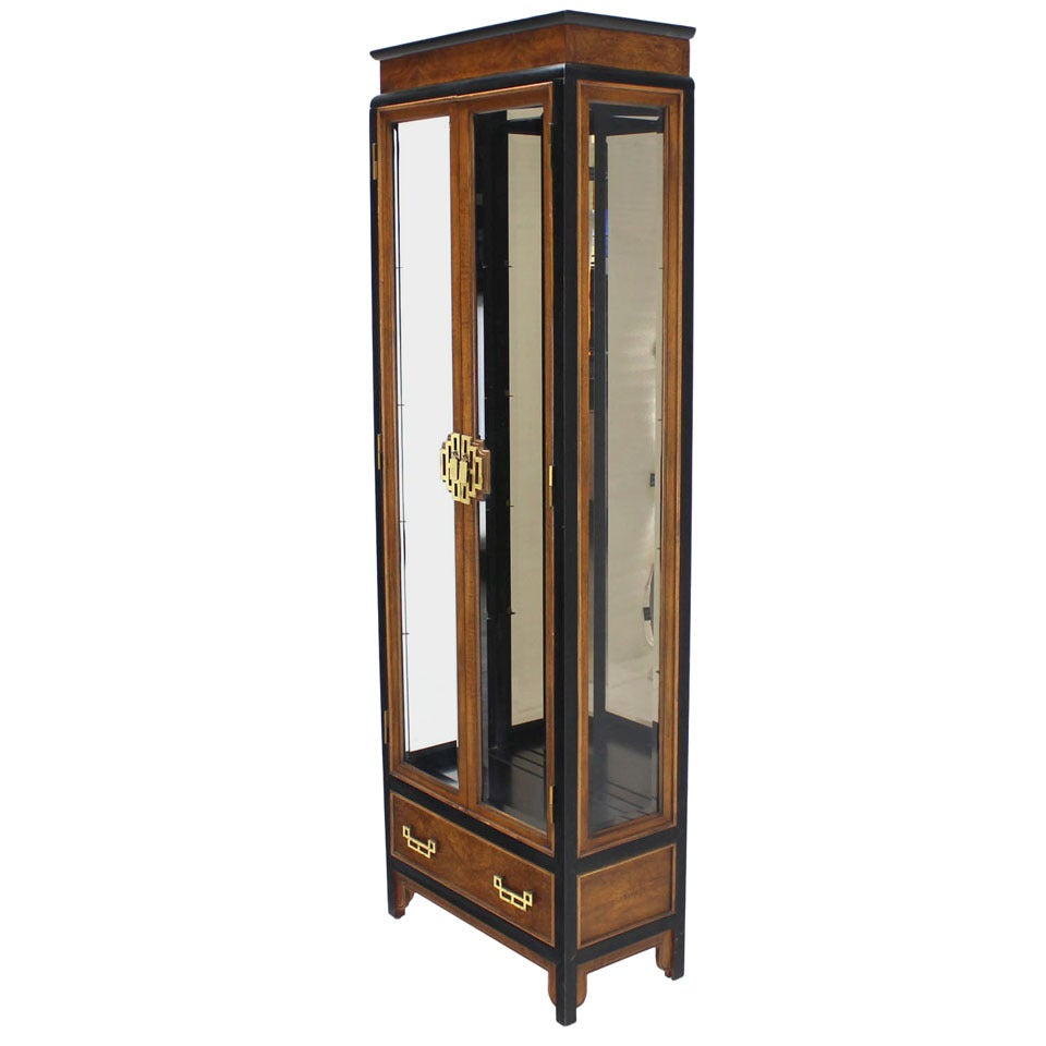Burl wood asian inspired ebonized frame curio cabinet with for Oriental furniture nj
