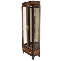 Burl Wood Asian Inspired Ebonized Frame Curio Cabinet with Brass Pulls