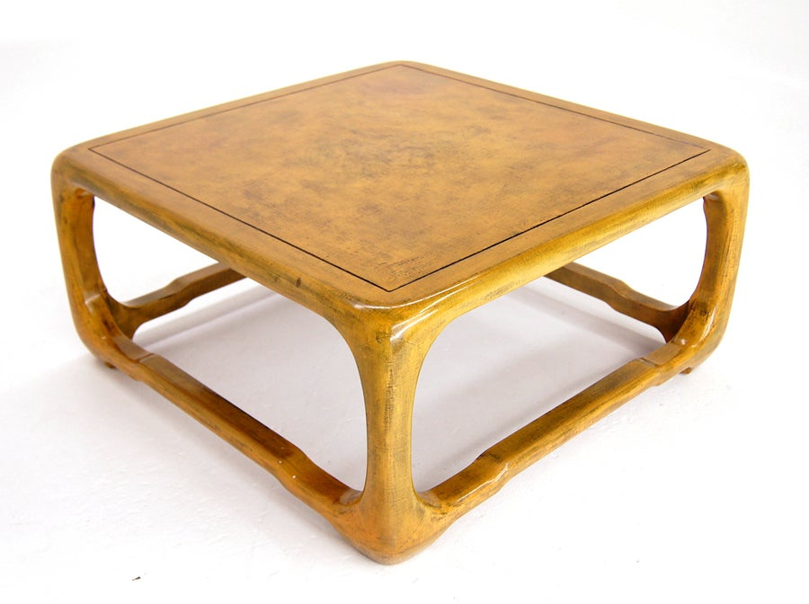 Modern oraganic shape lacquered cloth coffee table springer at 1stdibs Coffee table tablecloth