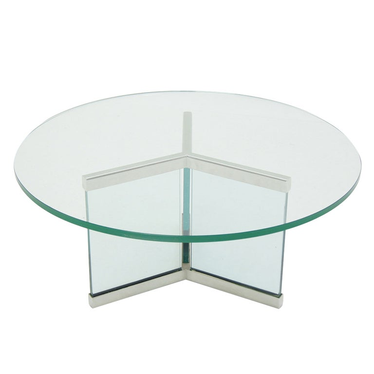 Modern Round Glass And Chrome Coffee Table: Pace Collection Round Glass And Chrome Modern Coffee Table