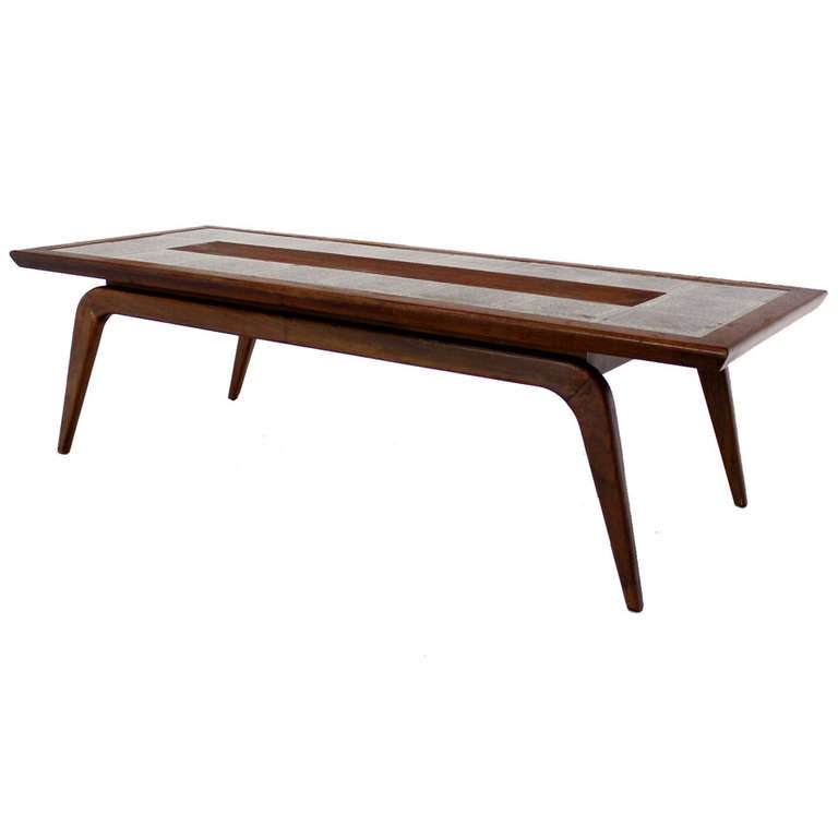 Oiled Walnut Tiled Top Coffee Table Mid Century Danish Modern At 1stdibs