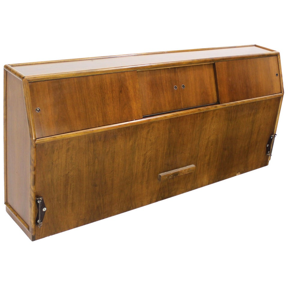 Mid Century Modern Walnut King Headboard With A Sliding Door Cabinet