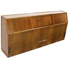Mid-Century Modern Walnut King Headboard with a Sliding Door Cabinet