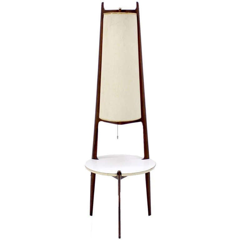 Mid-Century Modern Walnut Floor Lamp with Side Table