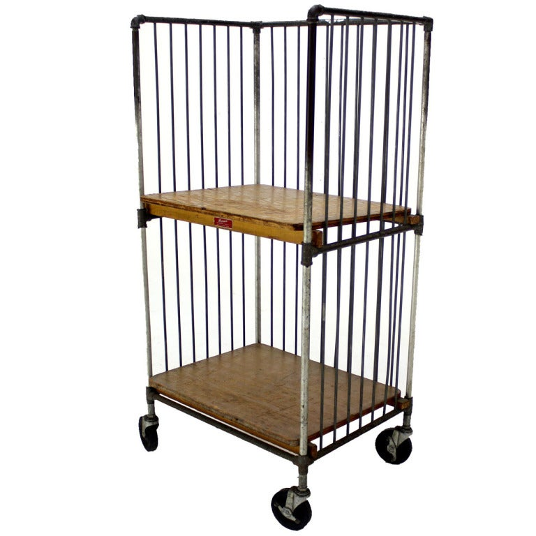 Heavy Industrial Mid Century Modern Cart Rack With Storage Shelves 1