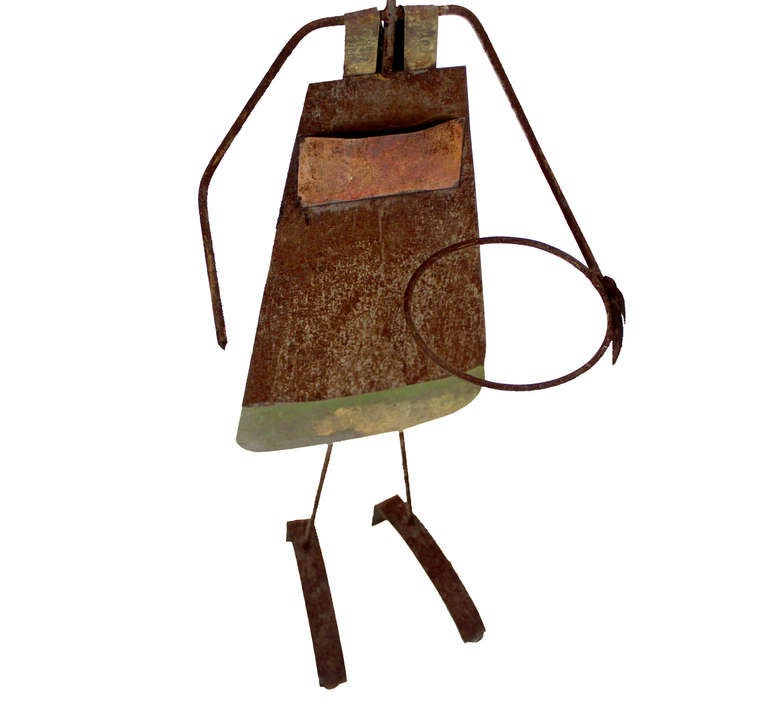 Boy And Girl Wrought Iron Garden Plant Holders For Sale At