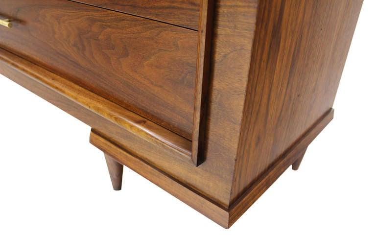 Art Deco Walnut Dresser With Solid Brass Pulls Mid Century