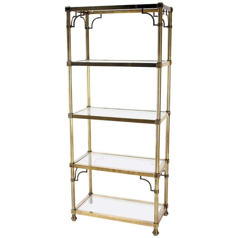 midcentury brass finish maison jansen style five shelf. Black Bedroom Furniture Sets. Home Design Ideas