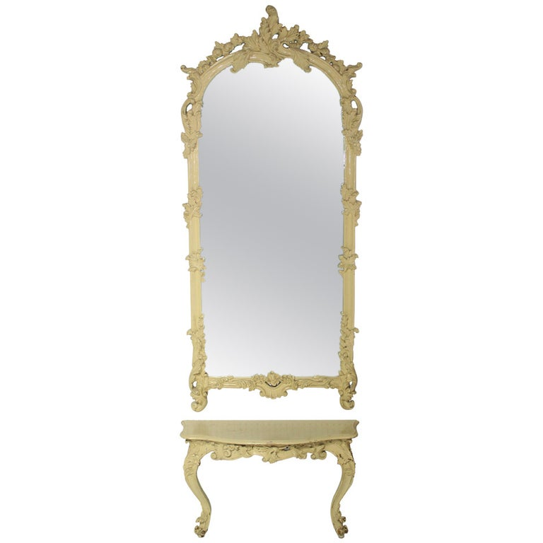 Carved Medium Size, Antique Pier Mirror with Small Console Table