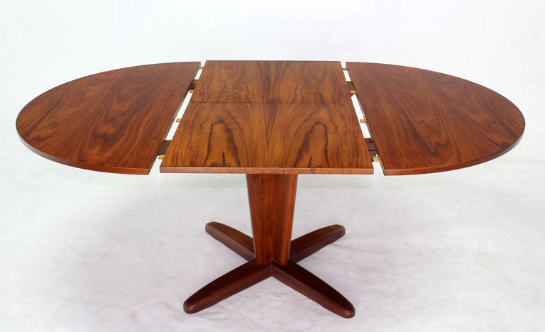 Danish Mid Century Modern Round Dining Table With Extendable Folding