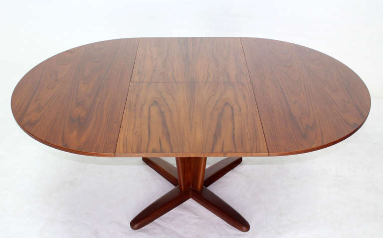century modern round dining table with extendable folding leaf image 8