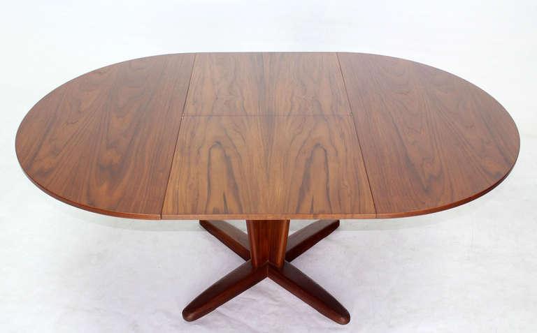 Danish Mid Century Modern Round Dining Table With Extendable Folding - Round dining table with folding leaf