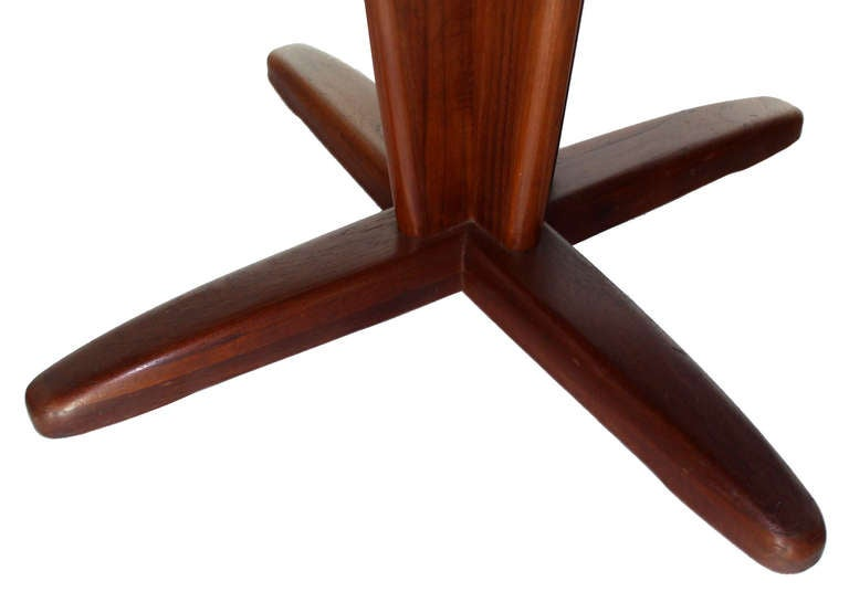 20th Century Danish Mid Century Modern Round Dining Table with Extendable Folding Leaf