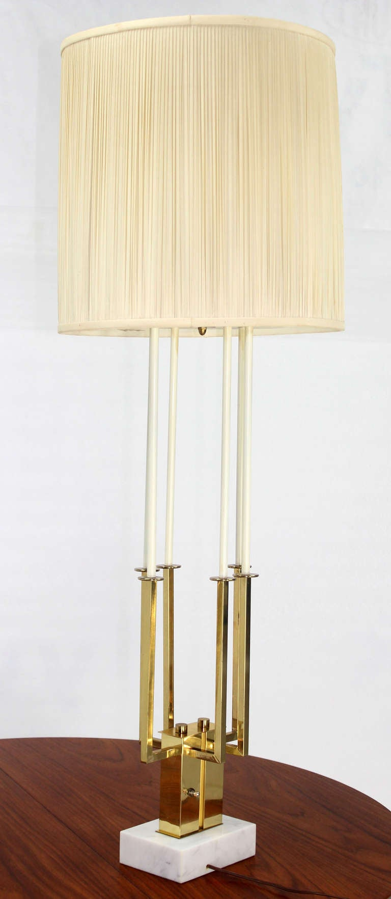 modern tall brass and marble base table lamp for sale at 1stdibs. Black Bedroom Furniture Sets. Home Design Ideas