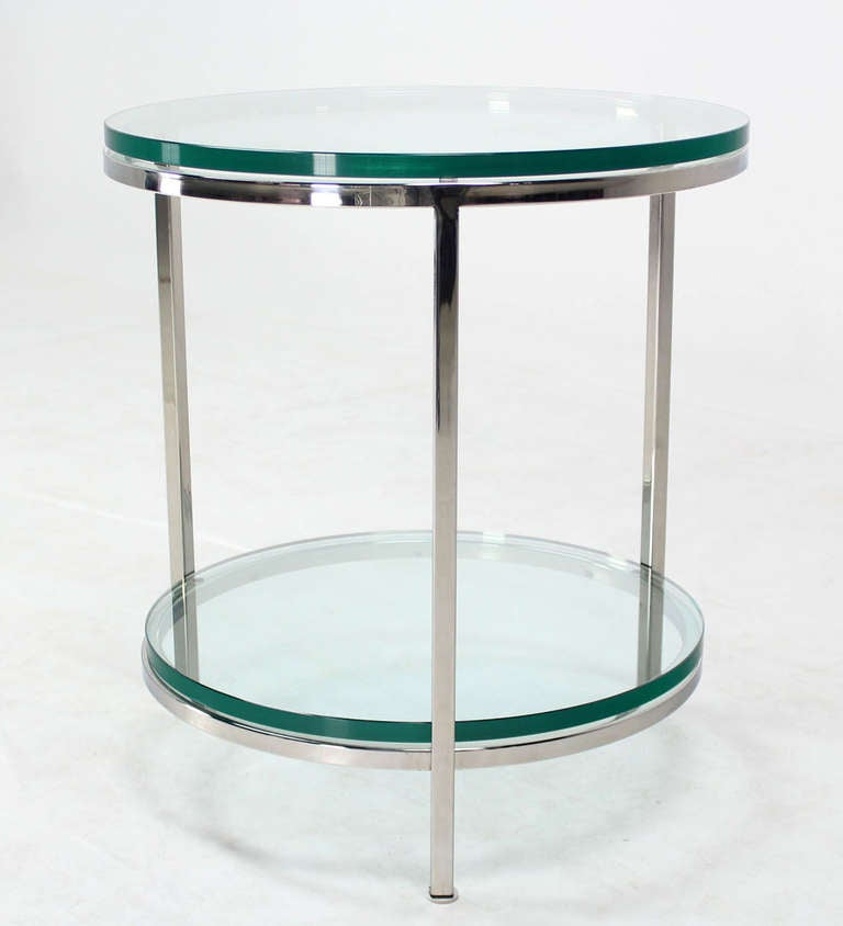 Round Chrome Two Tier Glass Top Mid Century Modern End