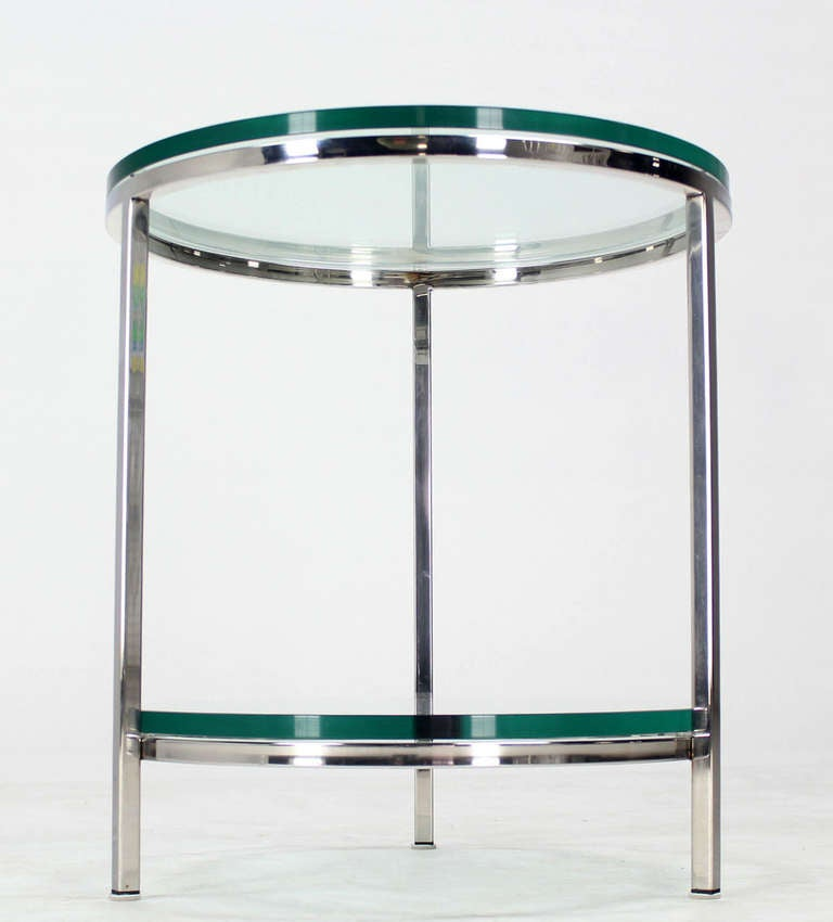 Round Chrome Two Tier Glass Top Mid Century Modern End ...