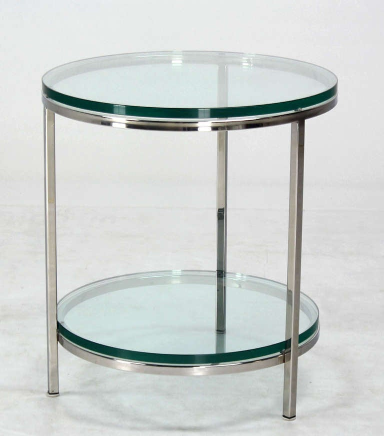 Modern Round Glass And Chrome Coffee Table: Round Chrome Two Tier Glass Top Mid Century Modern End