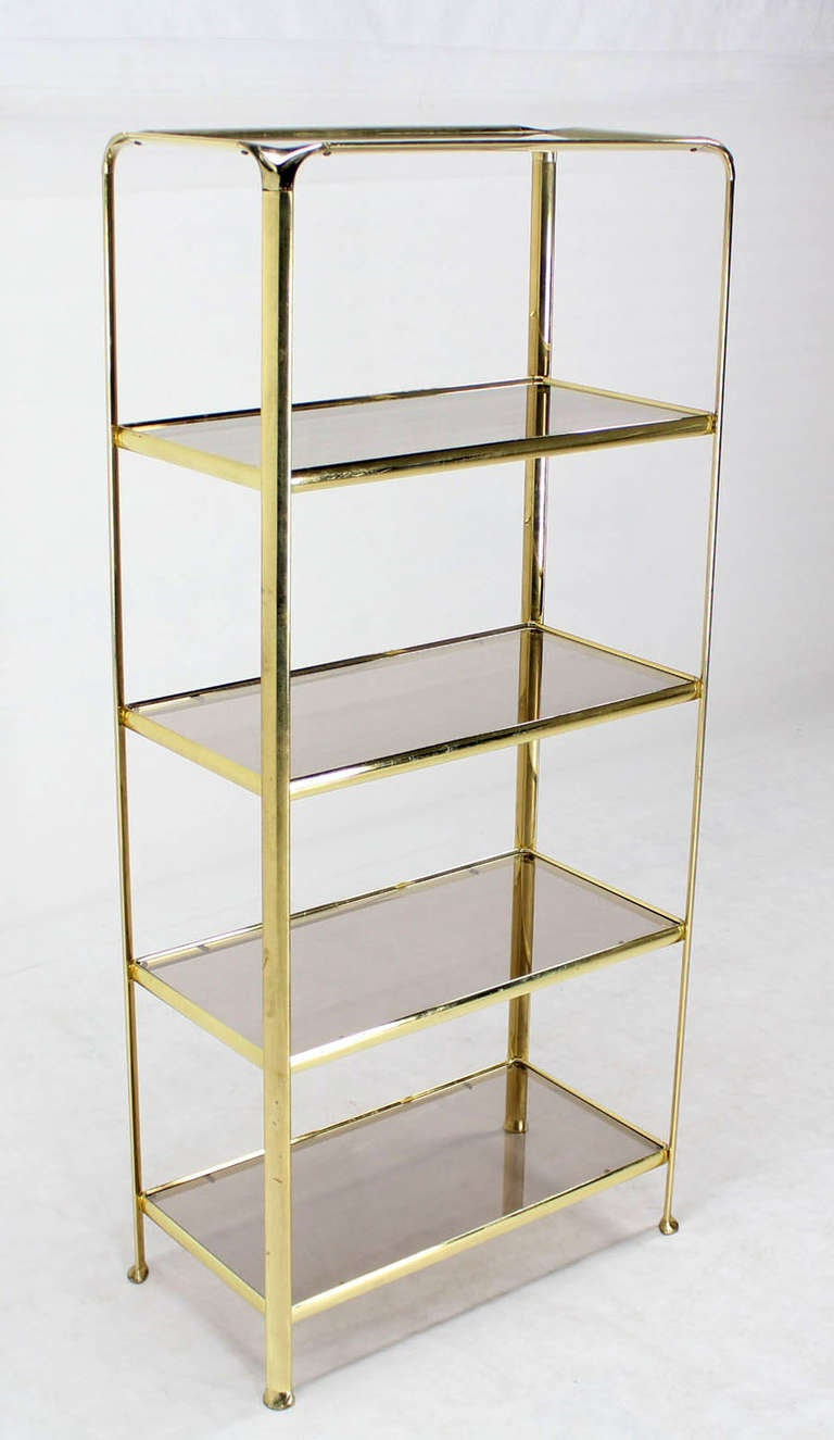 Mid Century Modern Five Tier Brass And Smoked Glass Etagere Shelving Unit  For Sale 1