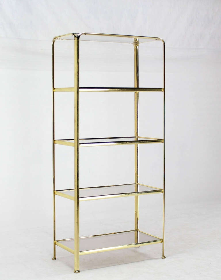 mid century modern five tier brass and smoked glass. Black Bedroom Furniture Sets. Home Design Ideas