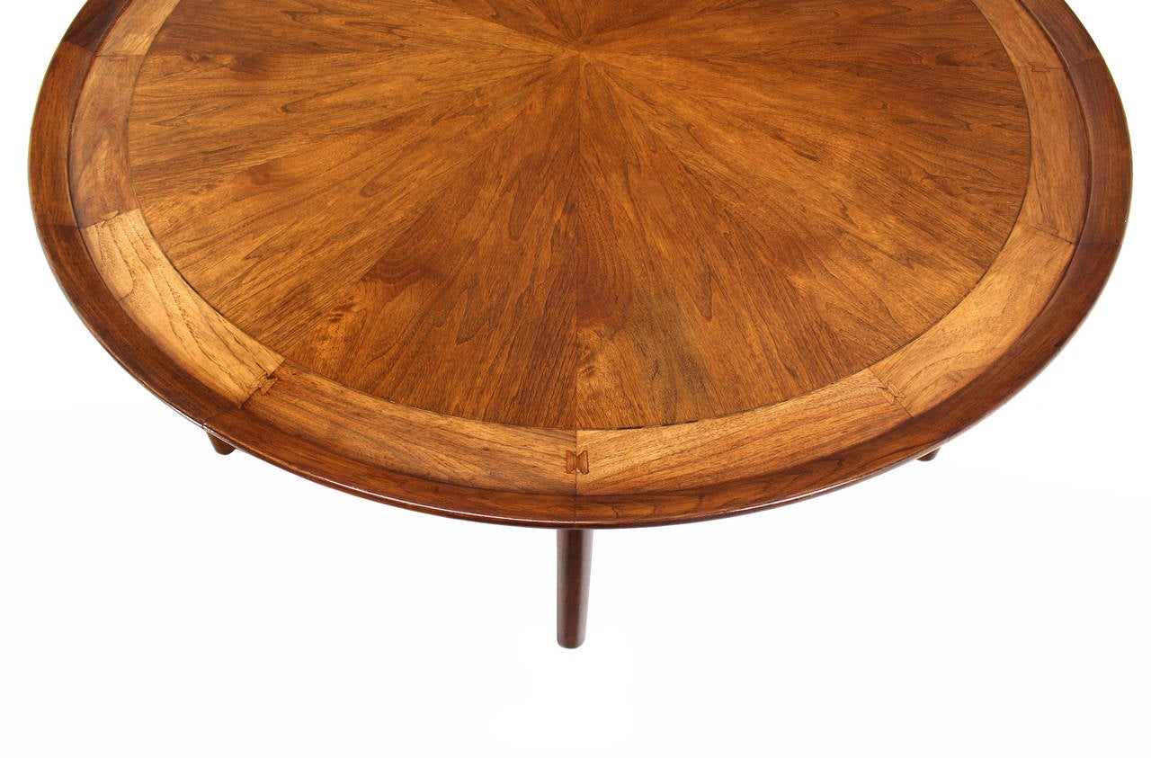 Large round six leg walnut center coffee table at 1stdibs for Large round table