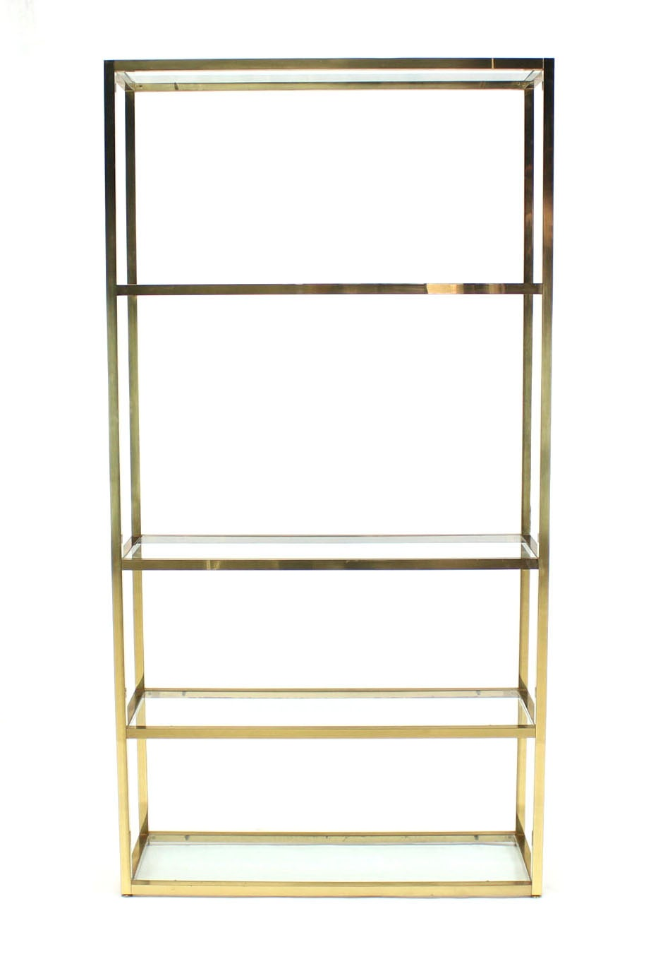 Solid square brass tube glass five shelves etagere display - Etagere 6 cases ...