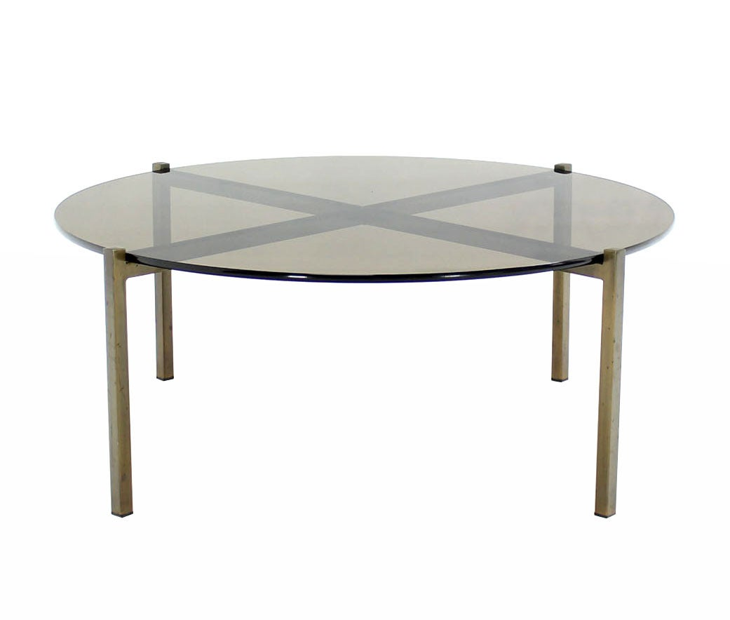 Smoked glass and bronze x base round coffee table at 1stdibs Glass coffee table base