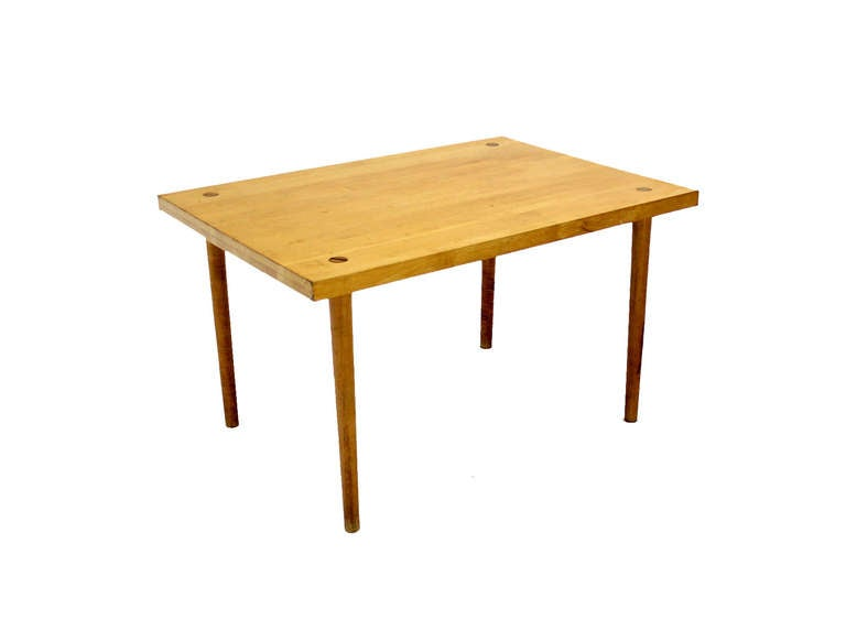 modern industrial thick butcher block top work table at