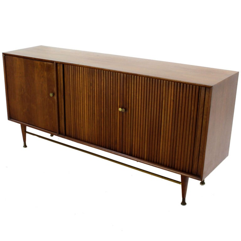 Credenza Mid Century Modern: Danish Mid Century Modern Walnut Tambour Doors Credenza