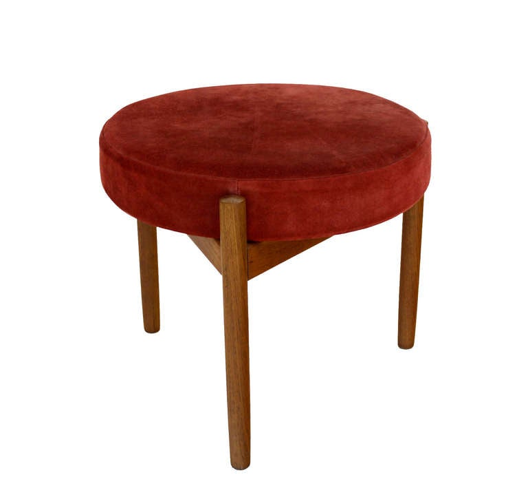 Danish Mid Century Modern Teak And Suede 3 Legged Stool