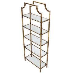 Mid-Century Modern Five-Tier Faux Bamboo Etagere Shelving Unit