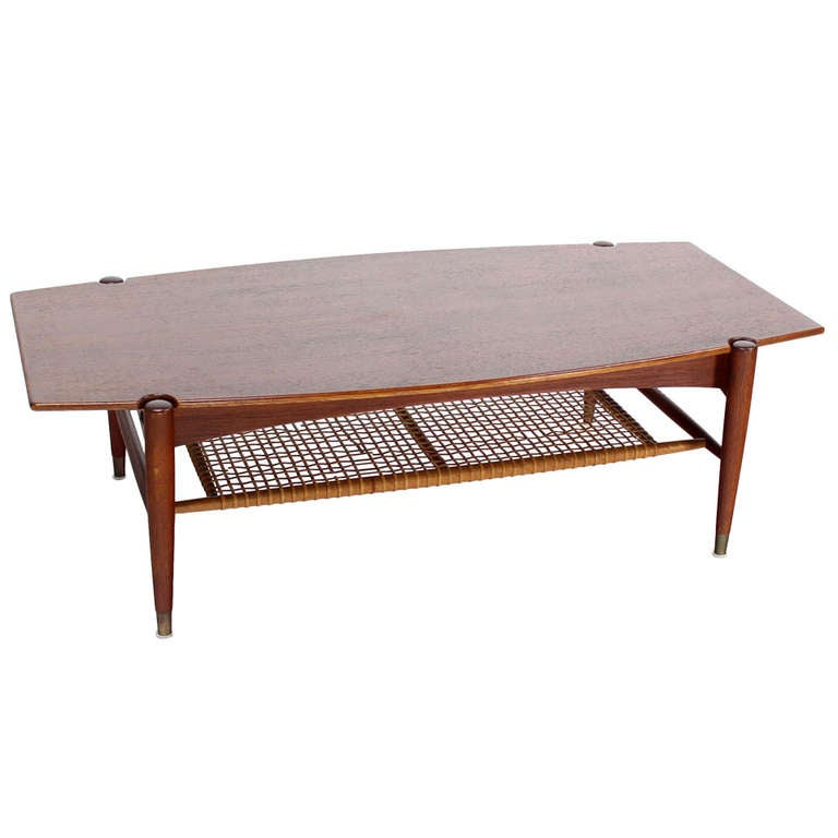 Danish Mid-Century Modern Teak Coffee Table With Magazine
