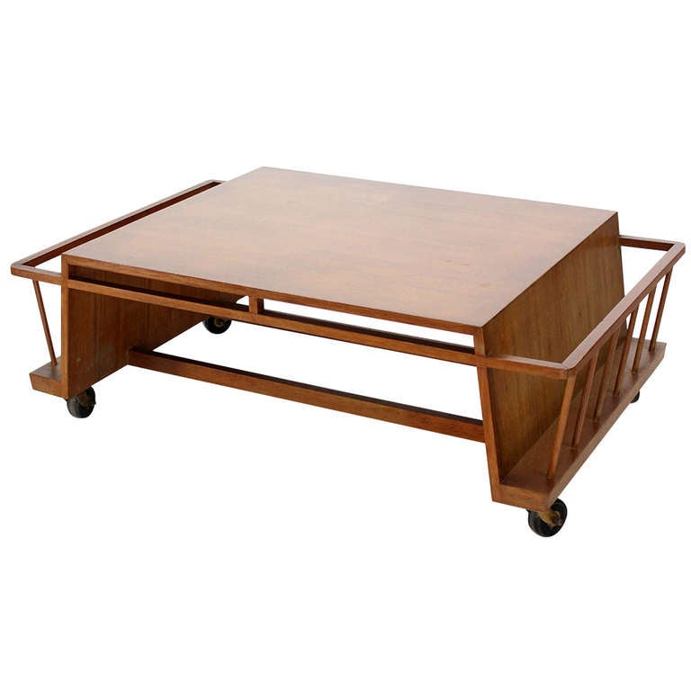 Mid Century Modern Industrial Style Coffee Table With Magazine Rack On Wheels