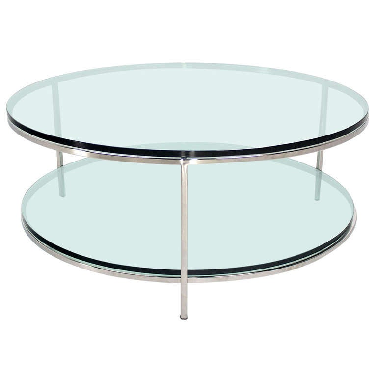 Large two tier glass top chrome base coffee or center table for Center table coffee table