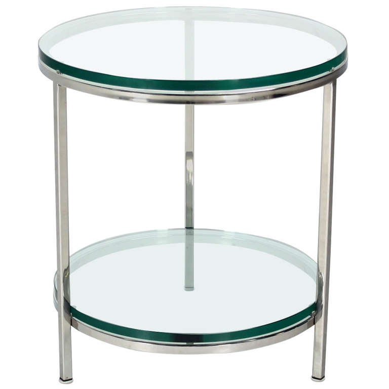 Round Chrome Two Tier Glass Top Mid Century Modern End Center Table