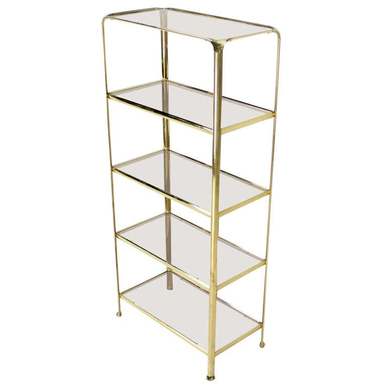 mid century modern five tier brass and smoked glass etagere shelving unit for sale at 1stdibs. Black Bedroom Furniture Sets. Home Design Ideas