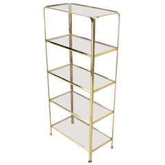 Mid-Century Modern Five-Tier Brass and Glass Etagere Shelving Unit