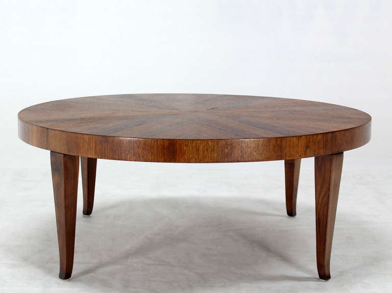 Round Walnut Mid Century Modern Coffee Center Table By Widdicomb At 1stdibs
