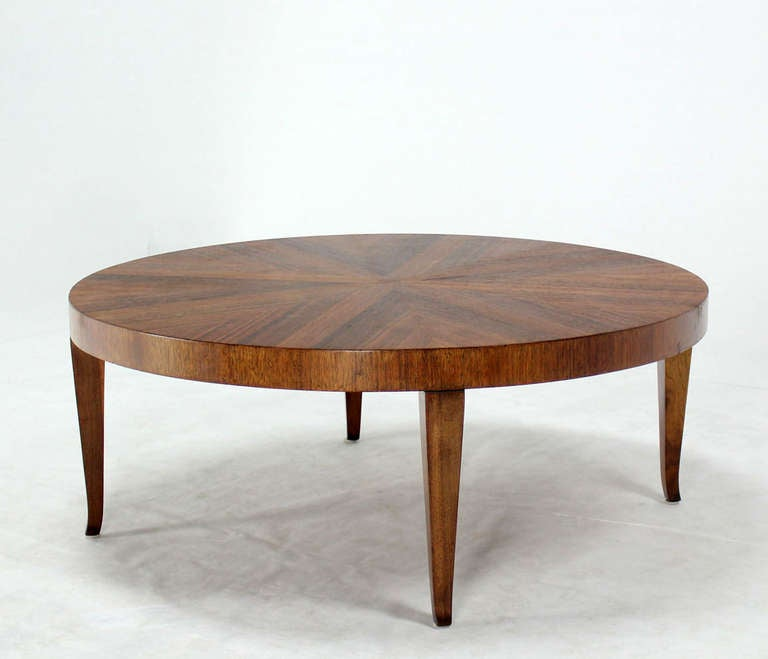 Round Walnut Mid-Century Modern Coffee Center Table By