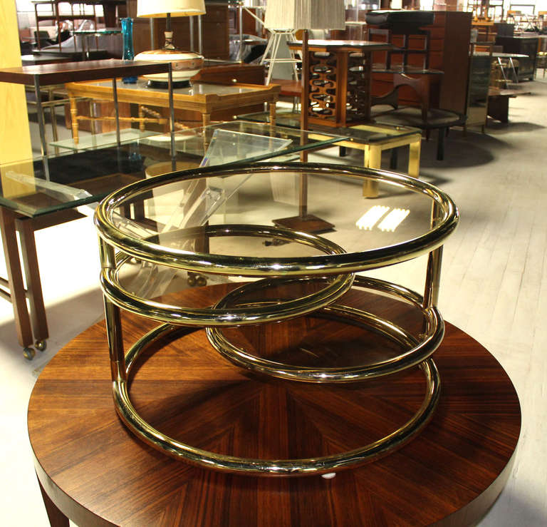 Mid Century Modern Round Tube Frame Expandable Coffee Table For Sale At 1stdibs