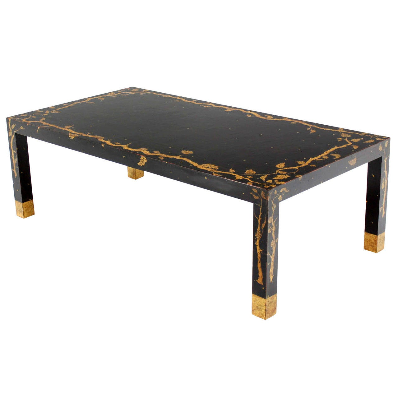 Art Decorated Ebonized Parsons Style Coffee Table At 1stdibs
