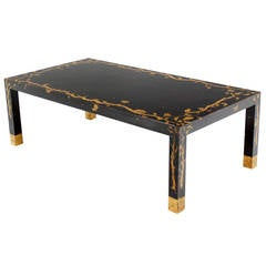 Art Decorated Ebonized Parsons Style Coffee Table