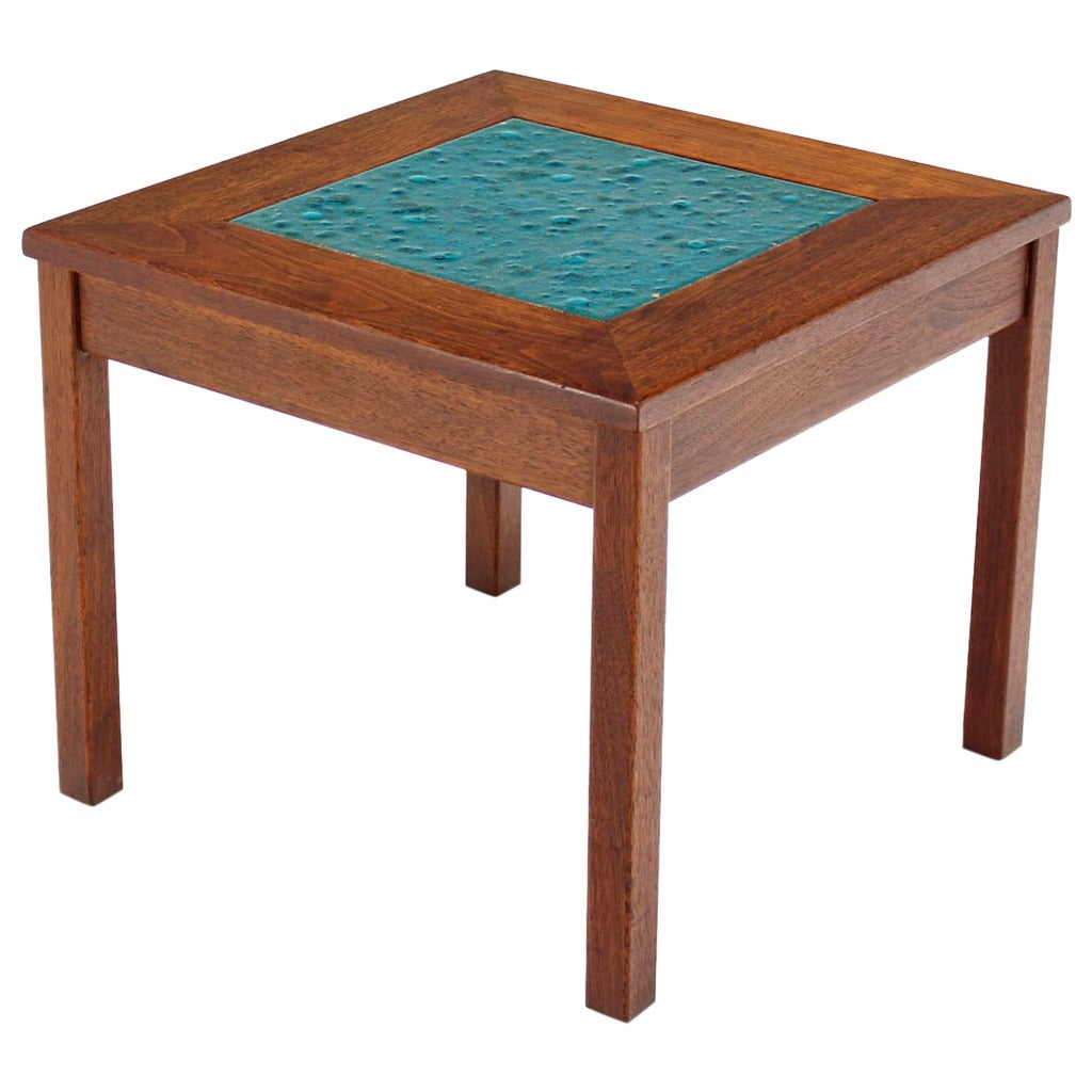 Small solid walnut frame art tile top side table for sale at 1stdibs small solid walnut frame art tile top side table 1 geotapseo Choice Image