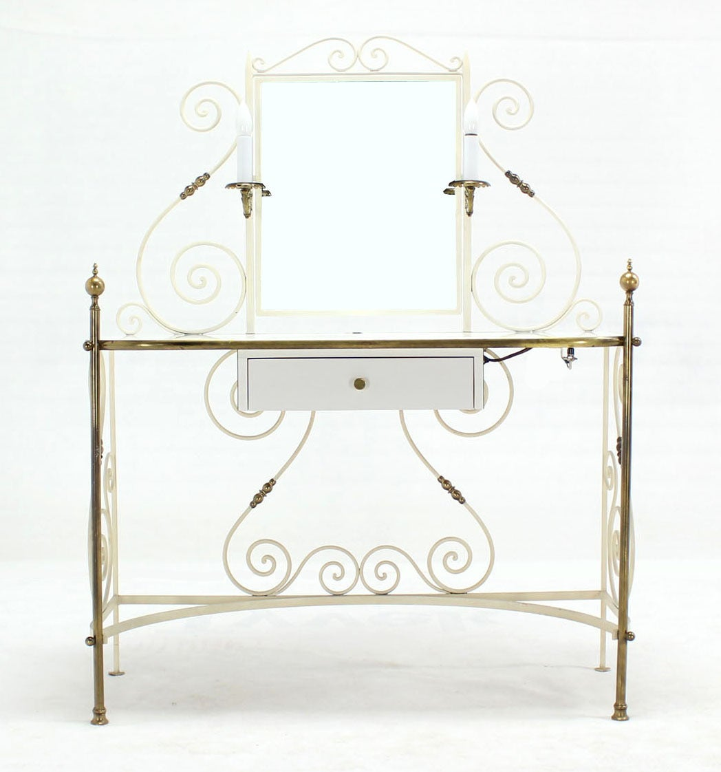 American Decorative Vanity Dressing Table Milk Glass Top Metal Scrolls Brass Hardware For Sale