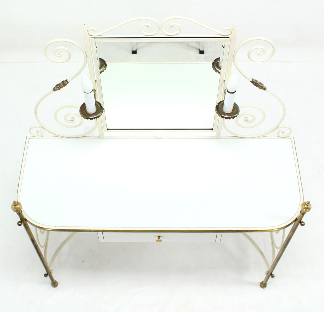 Decorative Vanity Dressing Table Milk Glass Top Metal Scrolls Brass Hardware In Excellent Condition For Sale In Blairstown, NJ